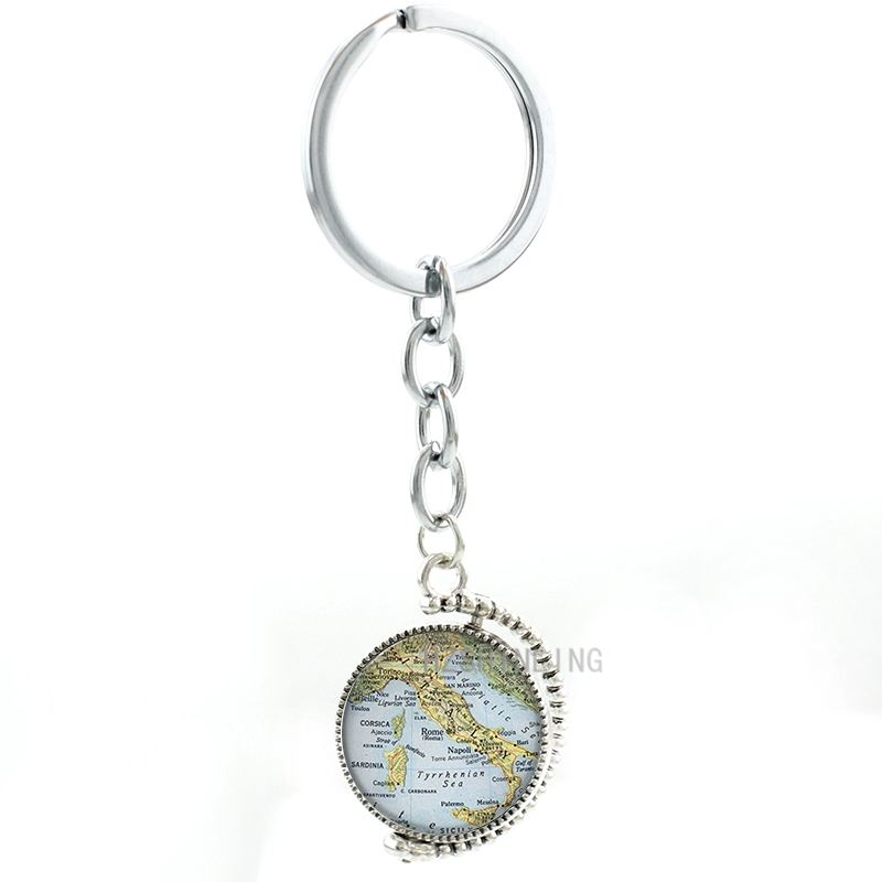 Double sides rotatable Gothic Italy map glass cabochon keychain exquisite handcrafted Italy map women key chain ring holder <font><b>MP48</b></font> image