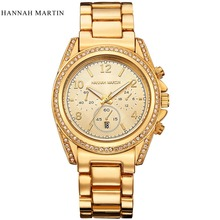 Reloj de manera de Las Mujeres Del Rhinestone de Relojes De Marca de Lujo de Acero Inoxidable Reloj de Pulsera de Las Señoras de Oro Rosa Casual Reloj de Cuarzo