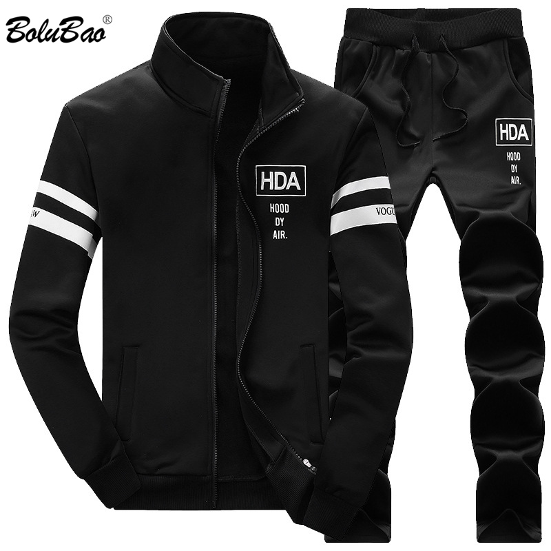 Bolubao Men Set Tracksuit Two Piece Jacket + Pants 2019 Autumn Men's Sportswear Casual Sets Male Sporting Suit Soft And Light