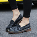 2017 England Patent Faux Leather Women Girls Loafers Dolly Brogue Tassel Fringe Sweet Ladies Creeper Flats Shoes Spring Summer