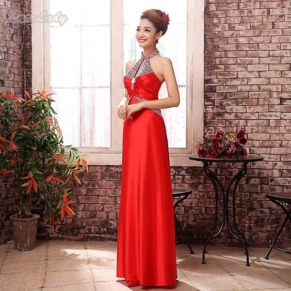 Новинка, модное, на заказ, элегантное, длина до пола, вечерние платья, прямое, с лямкой через шею, женское, длинное, торжественное платье, цена, LF27 - Цвет: Red