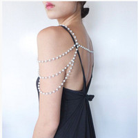 FREE SHIPPING NEW STYLE P23 WOMEN FASHION IMITATION WHITE PEARLS BEADS SHOULDER CHAINS BODY CHAINS JEWELRY