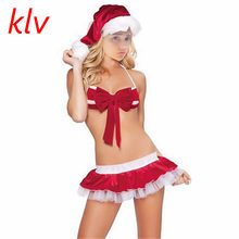 98558ed939 Sexy Lingerie Christmas Hats+ Sexy Costumes Women Santa Claus Cosplay Dress  Exotic Sets Underwear Nightdress Suits AJ