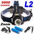 5000 Люмен Масштабируемые Фар СВЕТОДИОДНЫЕ фары CREE XML-L2 СВЕТОДИОДНЫЕ Лампы Перезаряжаемый СВЕТОДИОДНЫЙ Головной Свет + 2x18650 Батарея + AC/Автомобильное Зарядное Устройство