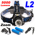 5000Lumens Headlight LED headlamp CREE XML-L2 Zoomable LED Lamp Rechargeable LED Head Light+2x18650 Battery+AC/Car Charger