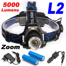 5000Lumens Headlight LED headlamp CREE XML-L2 Zoomable LED Lamp Rechargeable LED Head Light+2×18650 Battery+AC/Car Charger