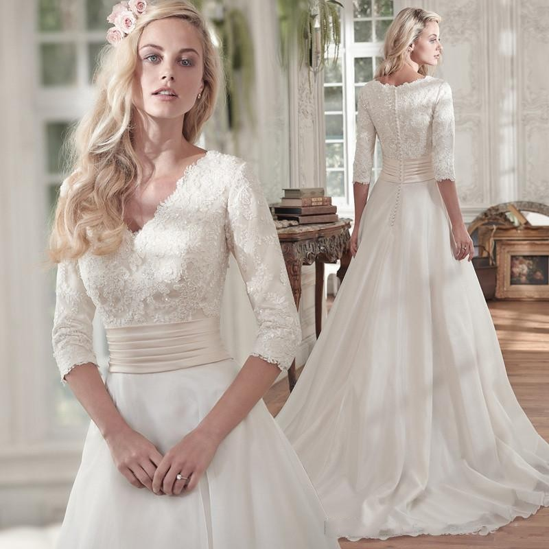 Vestido de noiva 2019 Cheap Half Sleeves Lace Chiffon Boho Wedding Dress Vestidos de noiva Custom Made Robe de mariee Gowns