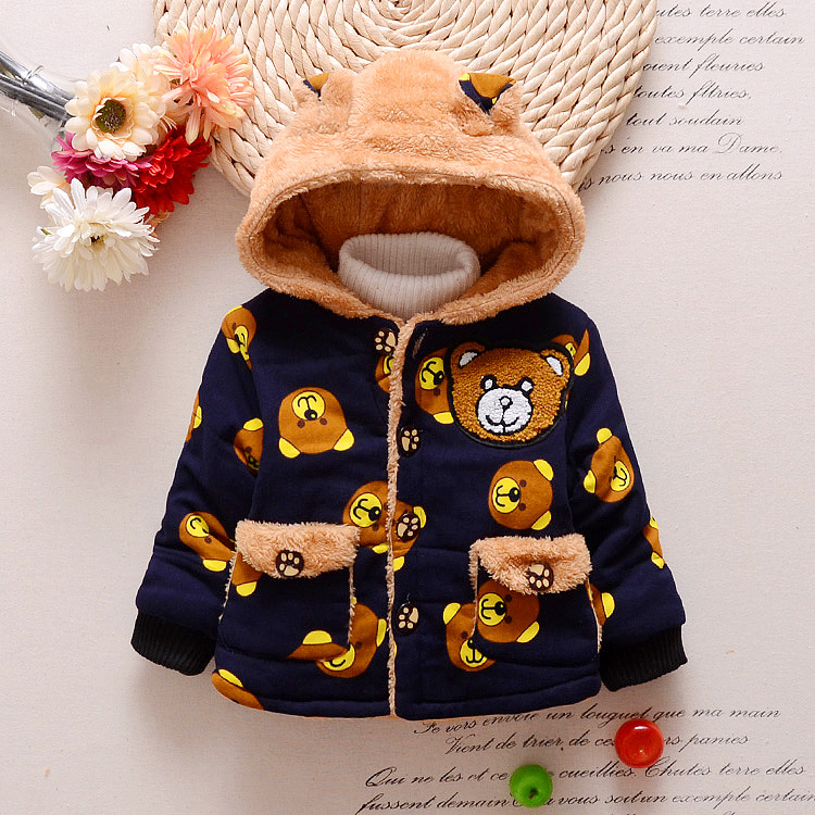 Warm Baby Kids Winter Hooded Jackets Baby Boys Hoodies Fleece Animal Coats Jackets For 1 3Y
