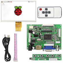 7 inch Raspberry Pi 3 LCD Display 1024*600 TFT Monitor Screen + Drive Board HDMI / VGA + Remote Control  for Raspberry Pi 2