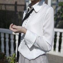 100% blusa de seda camisa de gasa blusas de las mujeres de alta calidad de manga larga camisa de la blusa de gran tamaño más el tamaño de la pista de color blanco beige