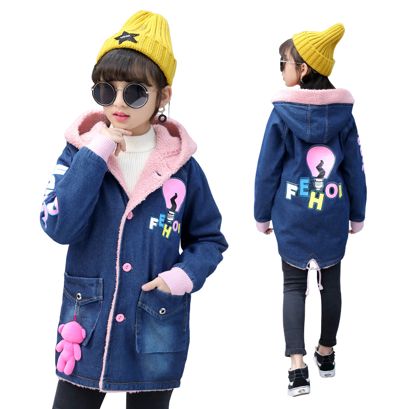 Girls Thick Denim Jacket for Winter New Children Long Clothes Girl Kids Thick Warm Outerwear Coats Denim Cotton Hooded Jacket