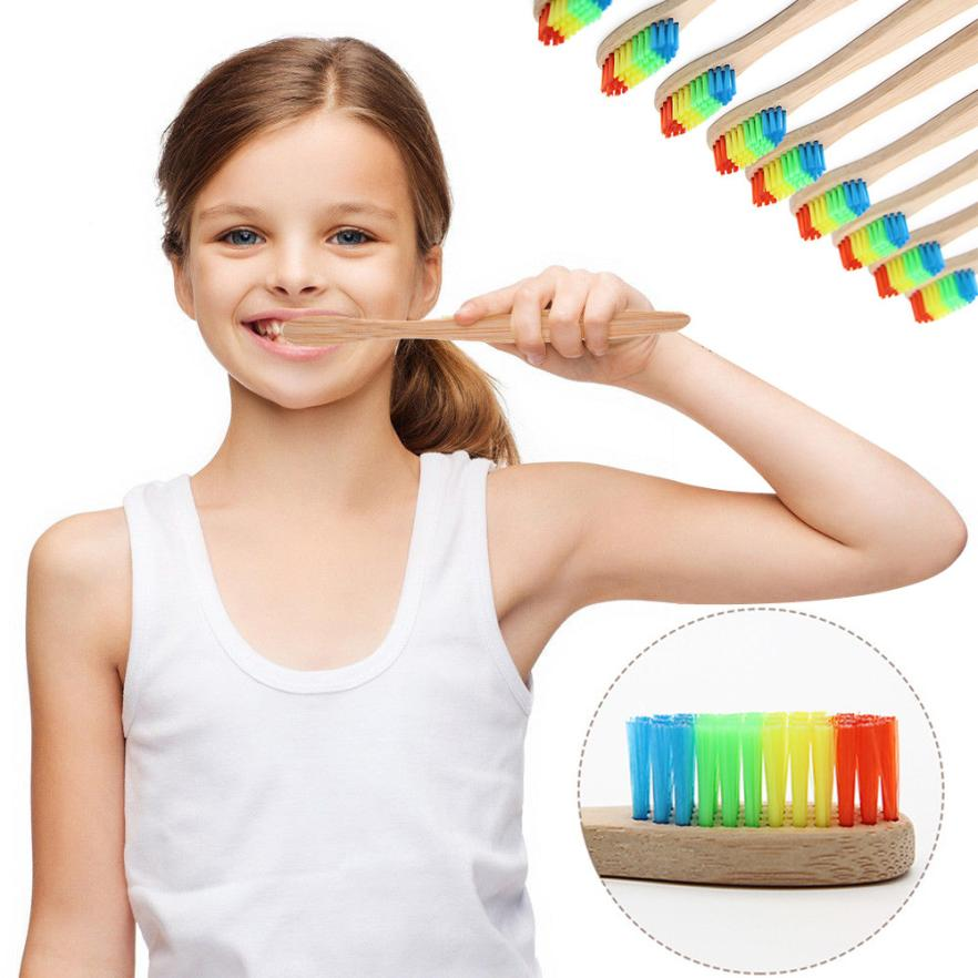 Eco-Friendly 1PC Toothbrush Rainbow Bamboo Soft Fibre Toothbrush Biodegradable Teeth Brush Oral Care 2U0706 image