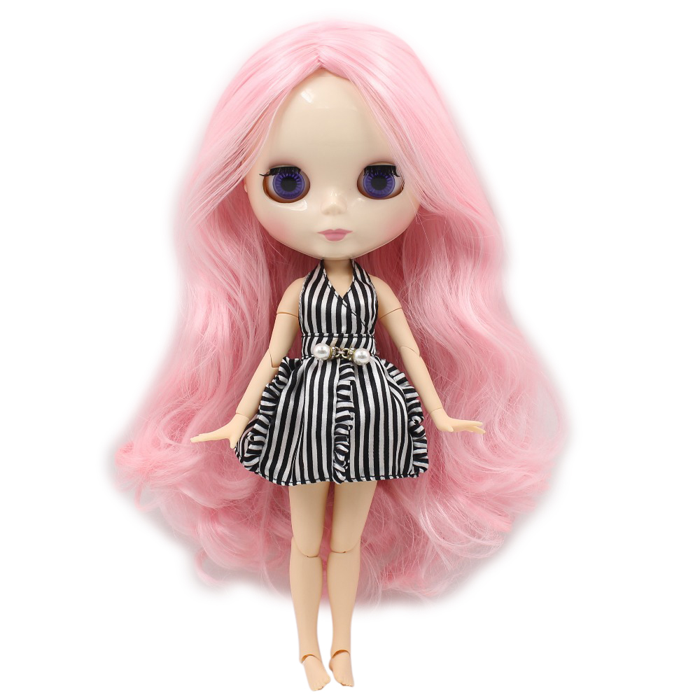 Blyth 1/6 Nude Doll pink and golden hair with braids with
