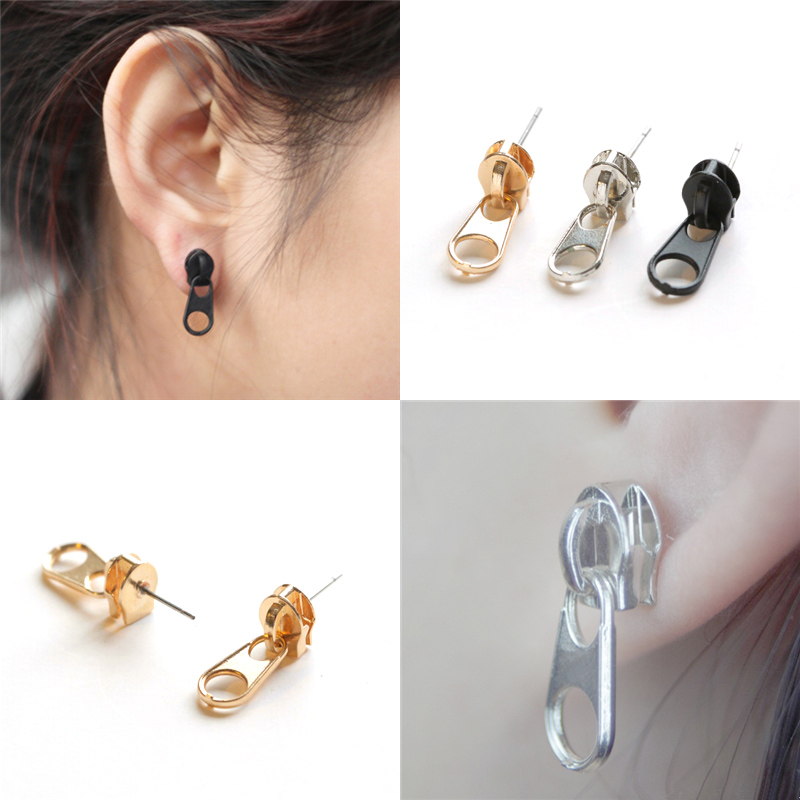 Trendy 2017 Stylish Punk Rock Style Men Women Best Gift Silver Black Gold Zipper Shaped Ear Piercing Stud Earrings Funky Jewelry In From