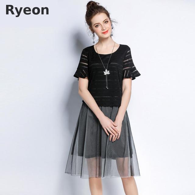 48279fd52a1 Ryeon 5xl Plus Size Summer Beach Wear Mesh Dress Women Black Stripe Hollow  Out Flare Sleeve Pleated Mesh Fabric Women Dresses