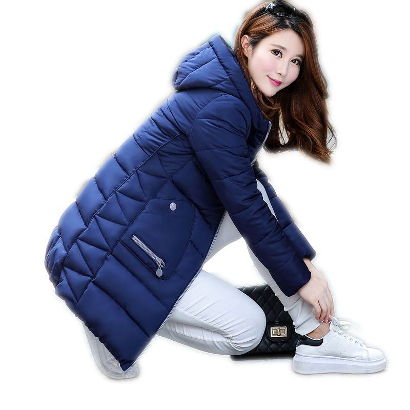 New Korean Pakra women down coat Slim Hooded thicker coat Girls long winter coat big yards