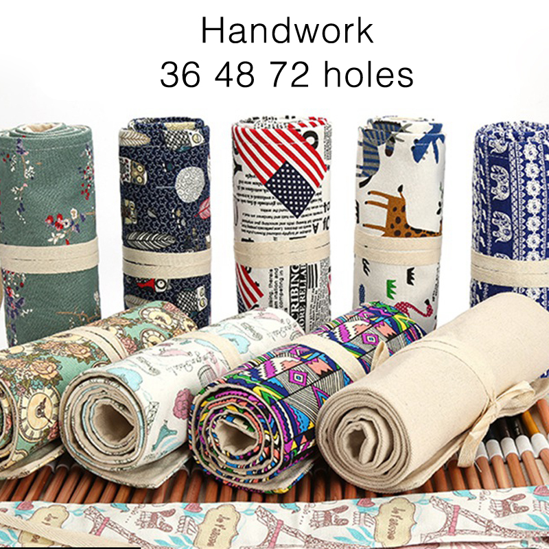 36/48/72 Holes Pencil Case Canvas Roll Pouch Makeup Comestic School Big Storage Pencil Box School Supplies Pen Cases Stationery 2 layer 36 holes art pen pencil case box students stationary zipper storage comestic make up brush organizer bag school supplies