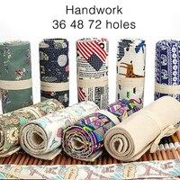 36 48 72 Holes Pencil Case Canvas Roll Pouch Makeup Comestic School Big Storage Pencil Box