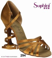 Free Shipping Suphini Basic 5 Straps Design Latin Salsa Shoes Deep tan satin Professional Latin Dance Shoes