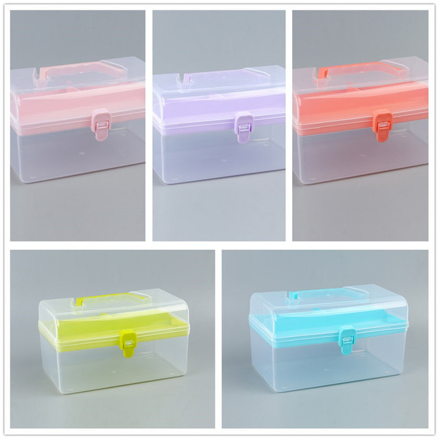 Clear Plastic Multipurpose Portable Handled Organizer Storage Box