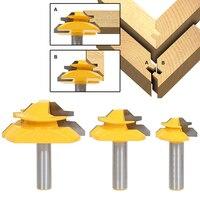 3pcs 2 Flute Glue Joint Lock Miter Router Bits 1 2 Shank 45 Degree Tenon Milling