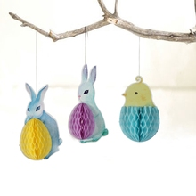 Pack of 3 Easter Decorations Springtime Honeycomb Friends Chick Bunny Easter Egg Rabbit Honeycomb Hanging Decorations