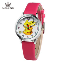 new arrived classic fashion cartoon Pikachu lovely leather gift wristwatches student kids