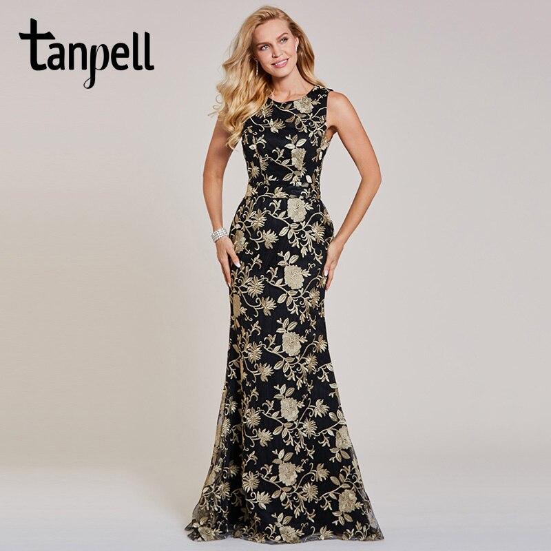 Tanpell bordado evening black lace mangas até o chão vestido sereia barato formal longa noite vestidos de festa de casamento das mulheres