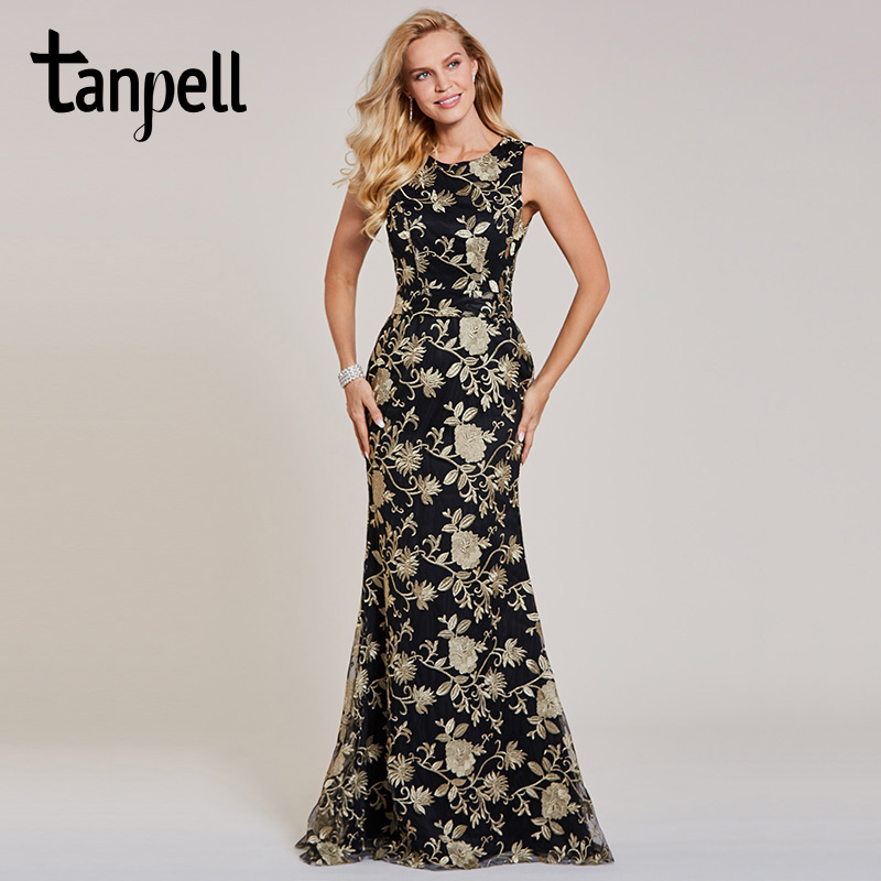 Tanpell embroidery evening black lace sleeveless floor length mermaid gown cheap women wedding party formal long evening dresses