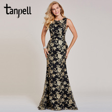 Tanpell embroidery evening black lace sleeveless floor length mermaid gown cheap women wedding party formal long dresses