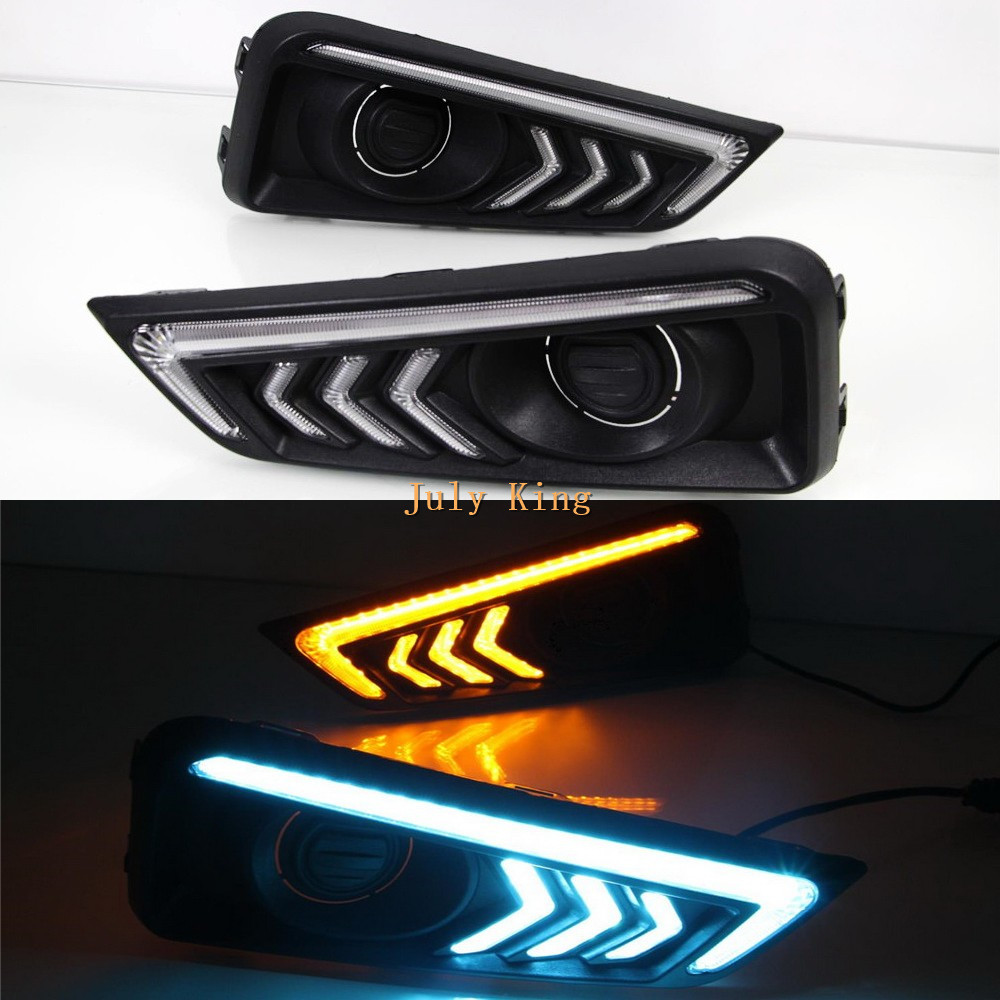 July King LED Daytime Running Lights + Yellow Turn Signal Light + Ice Blue Night DRL Case For Honda City 2015~2017 лак для ногтей orly permanent collection 009 цвет 009 catch the bouquet variant hex name f38f9c