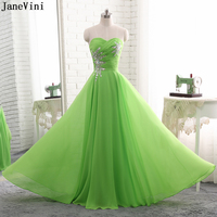 58f3642234941 JaneVini Chiffon Long Bridesmaid Dresses 2019 Elegant Green Sweetheart  Sequined Crystal A Line Formal Party Gowns