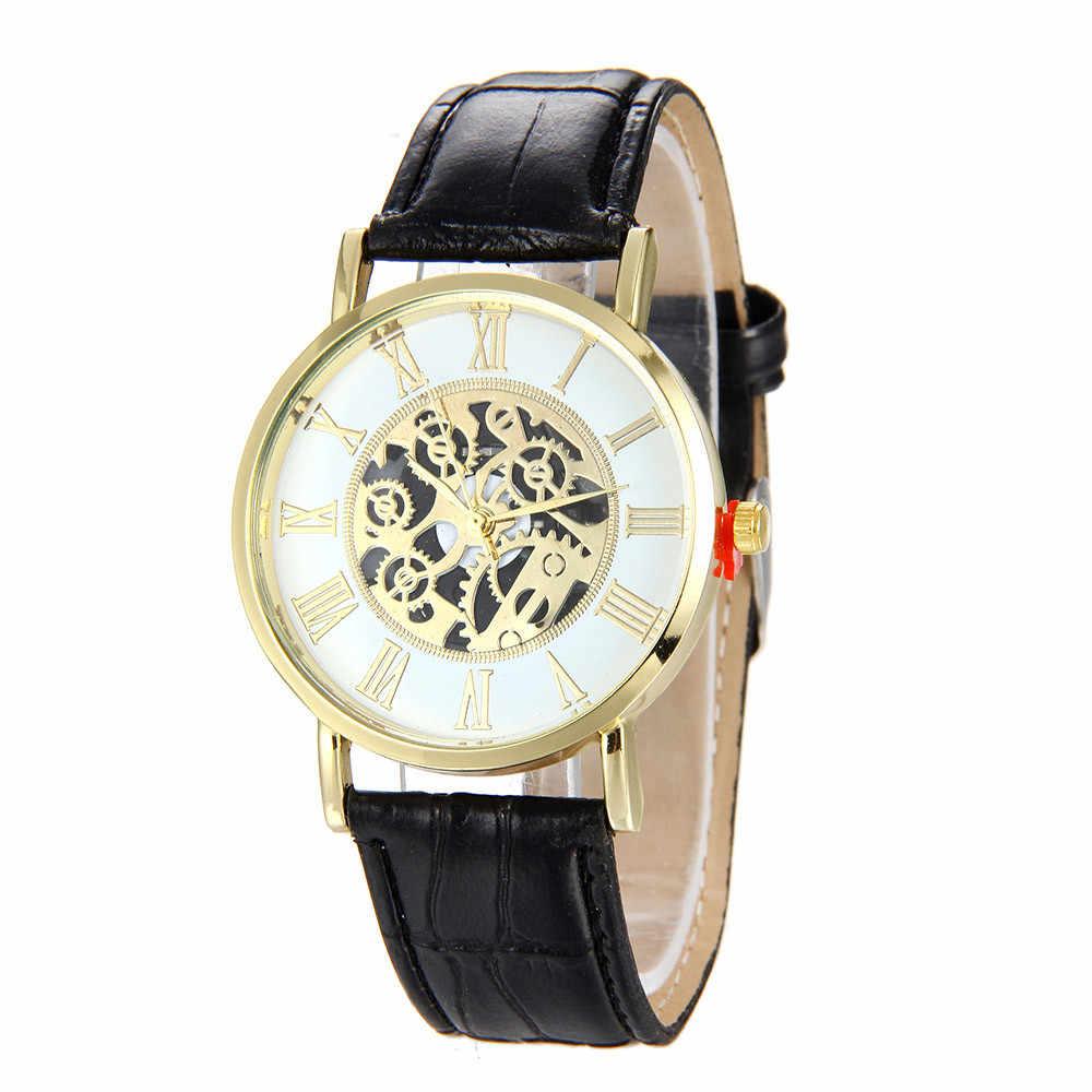 Nuevo reloj de pulsera negro esqueleto de hombre de acero inoxidable antiguo Steampunk Casual automático esqueleto mecánico relojes masculinos