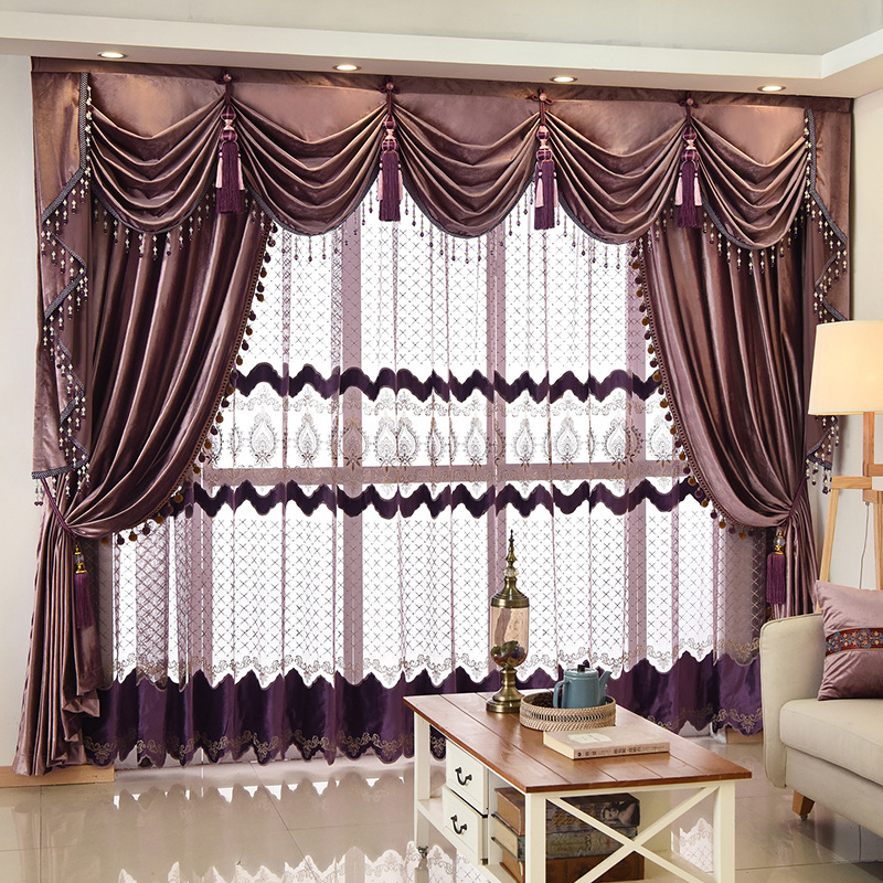 European Italian Flannel Purple Curtains For Bedroom Solid Color Velvet Valance Curtain Fabric Window Living Room Finished
