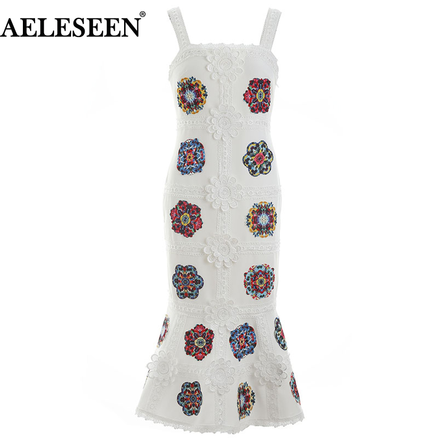 AELSEEN Runway Designer Elegant Dresses Fashion 2018 Spaghetti Strap Summer Flower Print Appliques Sleeveless White Black Dress