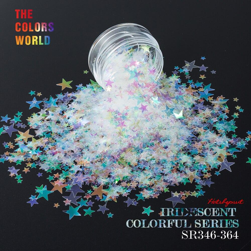 Stil; In Sr346-364 Weiße Farbe Mit Lila Rot Licht Schillernden Sternform Glitter Spiegel Glanz Glitter Für Nail Art Diy Dekoration Modischer