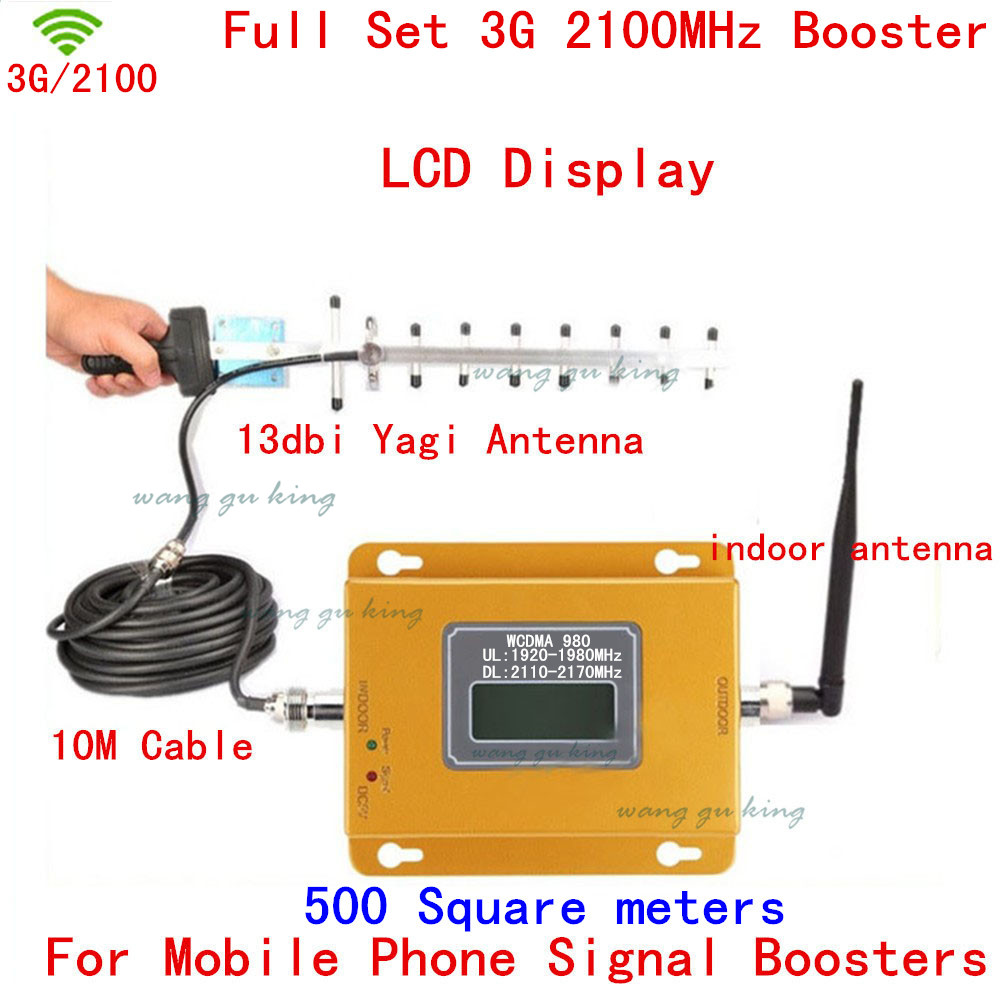 Full Set LCD 3G UMTS WCDMA 2100Mhz Repeater Mobile Phone 3G Signal Booster WCDMA Signal Repeater Amplifier +13db Yagi Antennas