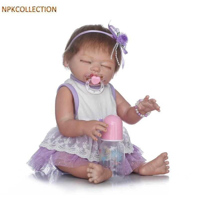NPKCOLLECTION 45CM Full Body Silicone Reborn Dolls Baby Alive Girl Dolls for Girls New Years's Toy Newborn Doll Girl XMAS Gift npkcollection 52cm full body silicone reborn dolls babies alive bonecas newborn girl baby doll toys for kids christmas xmas gift