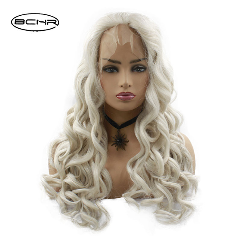 BCHR Handmade Long Curly White Mixed Blonde Ombre Wigs Synthetic Lace Front Wigs Glueless Free Part Lace wig