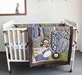 Promoción! 7 unids bordado cuna del lecho juego de cama de bebé llua cuna parachoques, incluyen ( bumpers + funda nórdica + cubierta de cama falda de la cama )