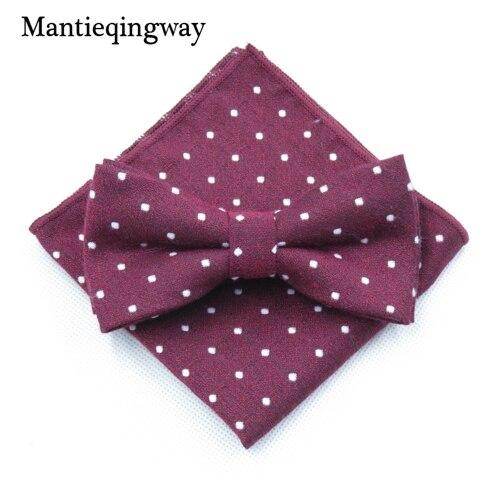 Mantieqingway мужской хлопчатобумажный галстук-бабочка носовой платок набор бизнес костюмы бантики точка карман квадратное полотенце для сундуков Hankies для свадьбы - Цвет: MYBZZ054WR