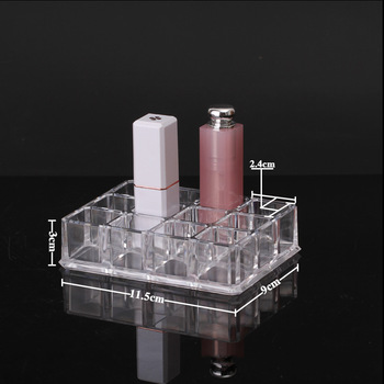 HUNYOO 1Pc Clear Acrylic Makeup Organizer with 12 Space Compartments for Storage of Lipstick and Perfume