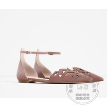 Office Lady Runway Shoes Ankle Strap Soft Leather Solid Color Carved Strappy Women's Shoes Gentlewomen Wide Foot Shoes Uniform