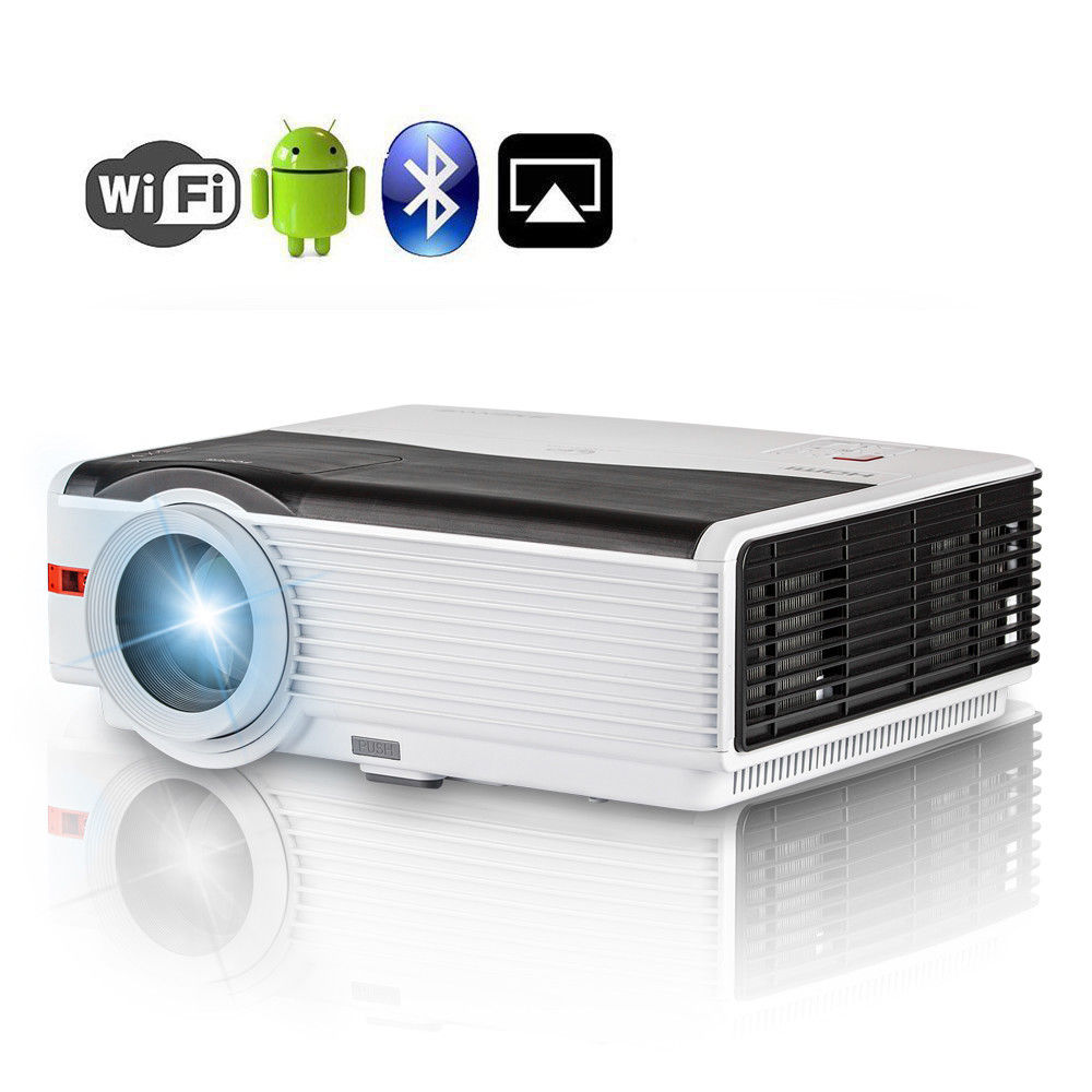 5000 Lumens Smart LED Home Cinema Android WIFI Projector Full HD Projeksiyon Bluetooth Mobile Beamer TV For Smartphone TV Laptop
