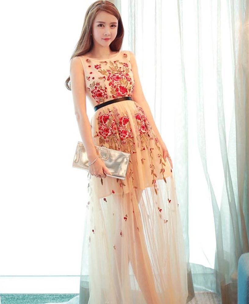 Quality brand summer embroidery flower tulle dress women