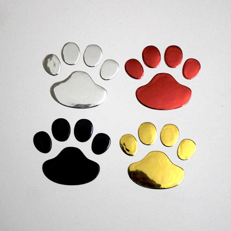 2XCar autocollant Cool Design patte 3D Animal chien chat ours pied impression moto décalcomanie Chrome décor emblème Badge argent or rouge noir