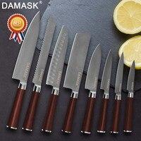 Дамаск 8 дюймов японский кухонные ножи Набор дамасский поварской нож Sharp Santoku нож для нарезания утилита для шашлыков пособия по кулинарии