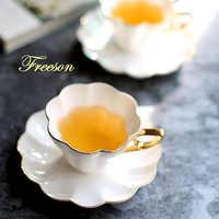 Elegant Flower Bone China Tea Cup Saucer Spoon Set 180ml Ceramic Teacup White Porcelain Coffee Cup Tea Set Cafe Espresso Cup