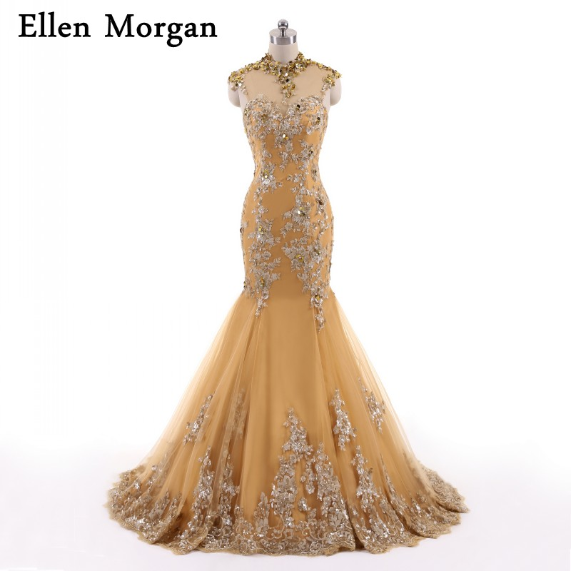 Muslim Gold Long Mermaid Evening Dresses For Women Wear With High