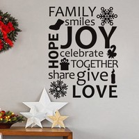 Vinyl Wall Lettering Family Celebrate Together Holiday Wall Art Quotes Words Decal 34 W X 45